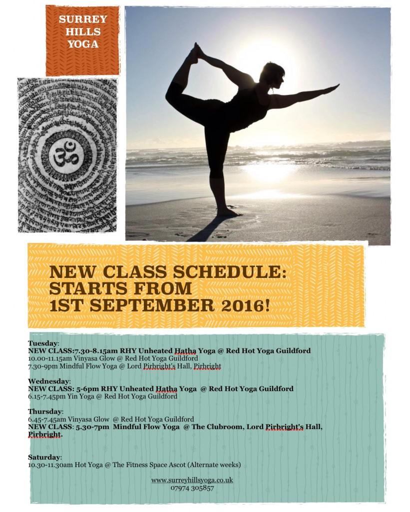 NEW CLASS SCHEDULE SEPTEMBER 2016